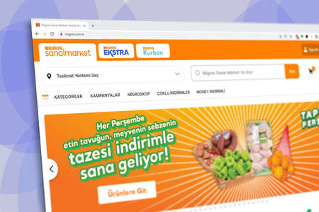 Istanbul, Turkey - July 2021: Illustrative Editorial screenshot of Turkish Migros website homepage. Migros logo visible with blurred out of focus content done intentionally