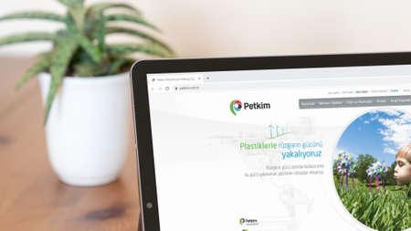 Istanbul, Turkey - July 2021: Illustrative Editorial screenshot of Turkish Petkim Petrochemicals website homepage. Petkim logo visible on a digital screen close-up