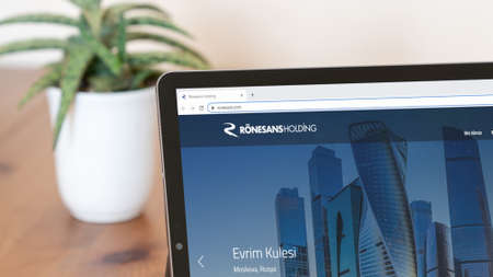 Istanbul, Turkey - July 2021: Illustrative Editorial of Turkish Ronesans Holding homepage. Ronesans Holding logo visible on a digital screen close-up