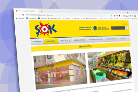 Istanbul, Turkey - July 2021: Illustrative Editorial screenshot of Turkish Sok Market website homepage. Sok Market logo visible with blurred out of focus content done intentionally