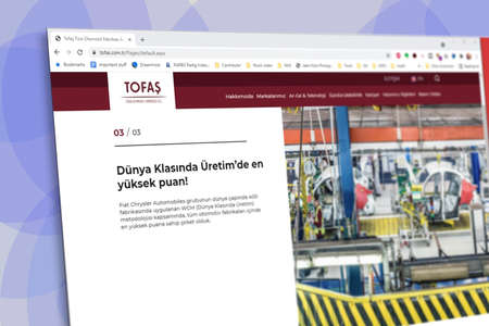 Istanbul, Turkey - July 2021: Illustrative Editorial screenshot of Turkish Tofas Turk Otomotiv homepage. Tofas Turk Otomotiv logo visible with blurred out of focus content done intentionally