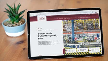 Istanbul, Turkey - July 2021: Illustrative Editorial screenshot of Turkish Tofas Turk Otomotiv homepage. Tofas Turk Otomotiv logo visible on a tablet screen.
