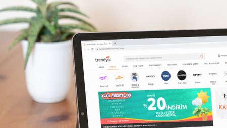 Istanbul, Turkey - July 2021: Illustrative Editorial screenshot of Turkish Trendyol e-commerce website homepage. Trendyol logo visible on a digital screen close-up