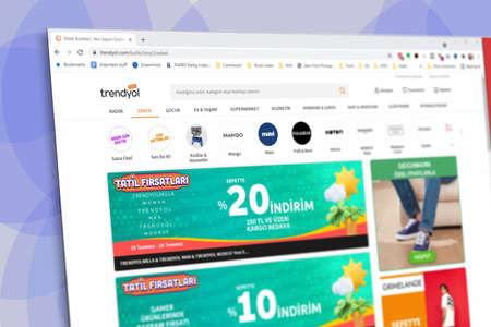 Istanbul, Turkey - July 2021: Illustrative Editorial screenshot of Turkish Trendyol e-commerce website homepage. Trendyol logo visible with blurred out of focus content done intentionally