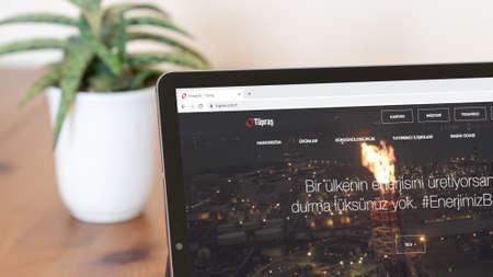 Istanbul, Turkey - July 2021: Illustrative Editorial of Turkish Coca Cola Icecek website homepage. Coca Cola Icecek logo visible on a digital screen close-up