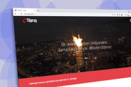 Istanbul, Turkey - July 2021: Illustrative Editorial of Turkish Coca Cola Icecek website homepage. Coca Cola Icecek logo visible with blurred out of focus content done intentionally