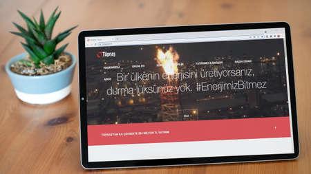 Istanbul, Turkey - July 2021: Illustrative Editorial of Turkish Coca Cola Icecek website homepage. Coca Cola Icecek logo visible on a tablet screen.