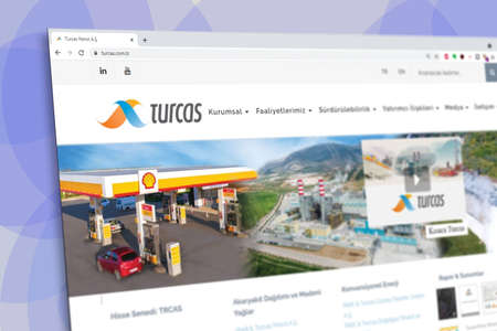 Istanbul, Turkey - July 2021: Illustrative Editorial screenshot of Turkish Turcas Petroleum company homepage. Turcas Petroleum logo visible with blurred out of focus content done intentionally Publikacyjne