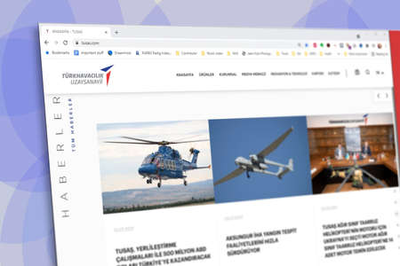Istanbul, Turkey - July 2021: Illustrative Editorial screenshot of Turkish Aerospace Industries TUSAS homepage. TUSAS logo visible with blurred out of focus content done intentionally Publikacyjne