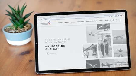 Istanbul, Turkey - July 2021: Illustrative Editorial screenshot of Turkish Aerospace Industries TUSAS homepage. TUSAS logo visible on a tablet screen. Publikacyjne