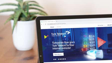 Istanbul, Turkey - July 2021: Illustrative Editorial screenshot of Turkish Turk Telekom website homepage. Turk Telekom logo visible on a digital screen close-up Publikacyjne