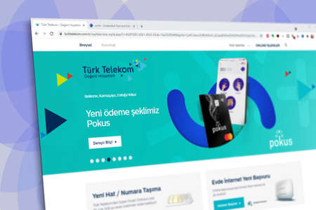Istanbul, Turkey - July 2021: Illustrative Editorial screenshot of Turkish Turk Telekom website homepage. Turk Telekom logo visible with blurred out of focus content done intentionally