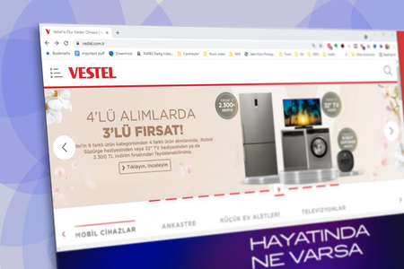 Istanbul, Turkey - July 2021: Illustrative Editorial screenshot of Turkish Vestel website homepage. Vestel logo visible with blurred out of focus content done intentionally