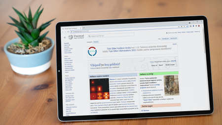 Istanbul, Turkey - July 2021: Illustrative Editorial screenshot of Turkish Vikipedi website homepage. Vikipedi logo visible on a tablet screen.