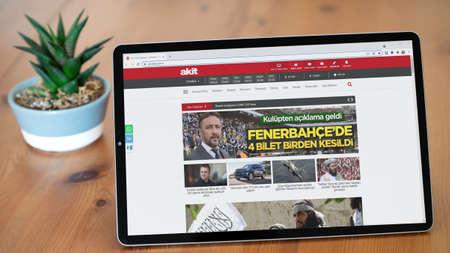 Istanbul, Turkey - July 2021: Illustrative Editorial screenshot of Turkish Akit newspaper website homepage. Akit logo visible on a tablet screen.
