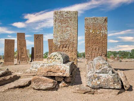 Bitlis, Turkey - September 2013: Tombstones from historical Seljuk Cemetery of Ahlat Publikacyjne