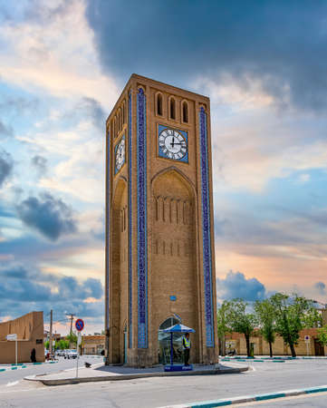 Yazd, Iran - May 2019: Clock Tower in Saat Square in the historical city of Yazd