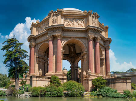 San Francisco, California, USA - August 2019: Palace of Fine Arts, a monumental structure constructed for the 1915 Expo. Famous San Francisco landmark