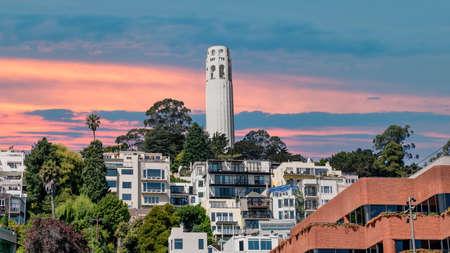 San Francisco, California, USA - August 2019: Coit Tower San Francisco California during sunset, pink skies