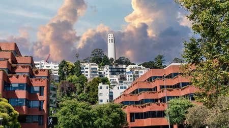 San Francisco, California, USA - August 2019: Coit Tower San Francisco California on a cloudy day