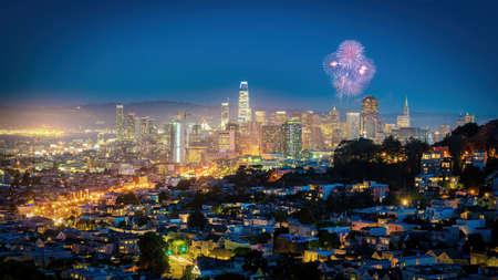 San Francisco, California, USA - August 2019: San Francisco downtown cityscape under fireworks at night Publikacyjne