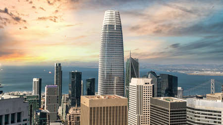 San Francisco, California, USA - August 2019: San Francisco cityscape with Salesforce Tower, the highest building in San Francisco skyline during sunset