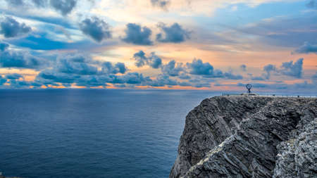 Nordkapp, Norway - June 2016: Midnight sun at North Cape Nordkapp on the northern point of Norway and Europe with Barents Sea, a part of Atlantic Ocean Publikacyjne
