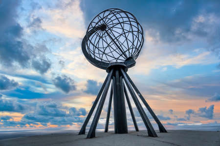 Nordkapp, Norway - June 2016: Globe monument at North Cape Nordkapp on the northern point of Norway and Europe.