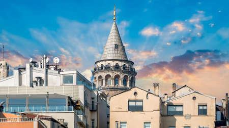 Istanbul, Turkey - February 18, 2017: Tourists watching Istanbul city from Galata Tower, observation deck Zdjęcie Seryjne