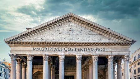 Rome, Italy - March 2017: Pantheon roman temple facade in Piazza della Rotonda, Rome, Italy.