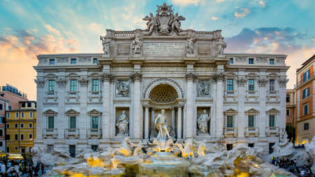 Rome, Italy - March 2017: Trevi fountain in the evening. Trevi fountain is one of the main attractions of Rome and Italy