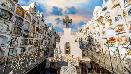 Lima, Peru - August 2017: Traditional cemetery with above the ground tombs in the a cemetery in Peru Publikacyjne