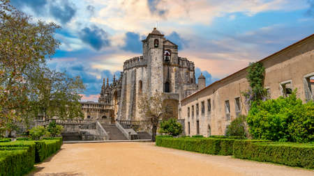 Tomar, Portugal - April 2018: The Convent of the Order of Christ is a templar knights castle