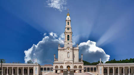 Fatima, Portugal - April 2018: Sanctuary of Fatima, Portugal. One of the most important Marian Shrines and pilgrimage location in the world for Catholics