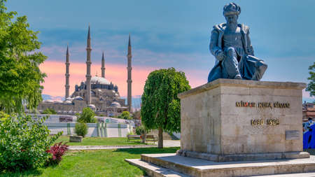 Edirne, Turkey - May 2018: Selimiye Mosque and the statue of its architect, Mimar Sinan