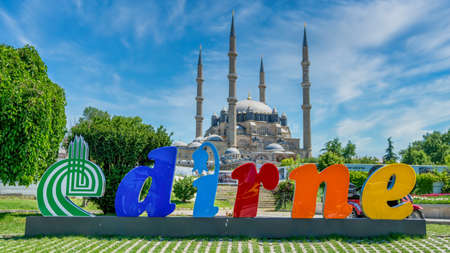 Edirne, Turkey - May 2018: Edirne Logo and Selimiye Mosque built by architect Mimar Sinan