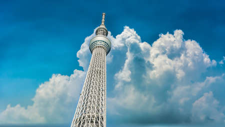 Tokyo, Japan - August 2018: Tokyo Sky Tree, the highest free-standing structure in Japan.