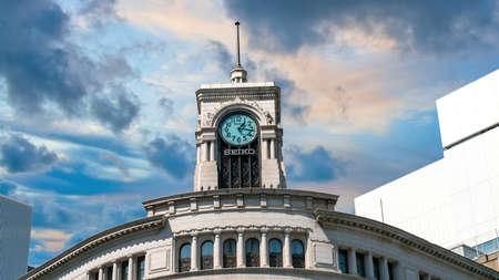 Tokyo, Japan - August 2018: Seiko Clock Tower in Ginza district in Tokyo, Japan. Publikacyjne