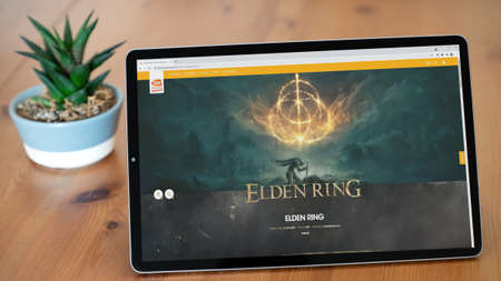 Istanbul, Turkey - August 2021: Illustrative Editorial screenshot of Elden Ring video game website homepage. Bandai Namco company logo visible on the page.
