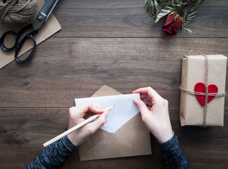 wood craft: Valentines day letter Stock Photo