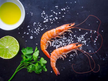 fish oil: Overhead shot of shrimps Stock Photo