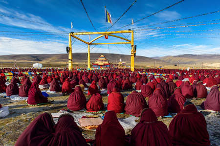 tantra: Yaqing buddha college,tibet tantra class on grassland.