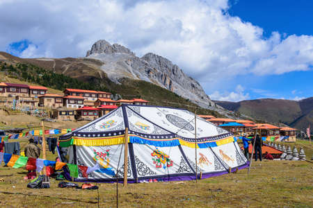 tantra: Tibetan style tent under Mt. Zaga,it was used for welcome distinguished visitors. Editorial