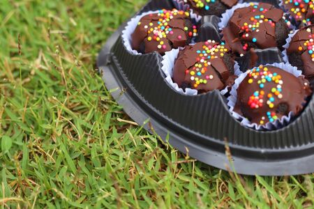 choc: Choc ball on the green grass in the football. Stock Photo