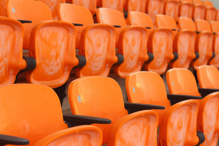 Seat grandstand in an empty stadium Stock Photo