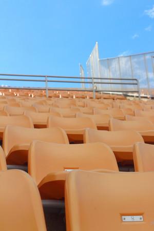 grandstand: Seat of grandstand in an empty stadium