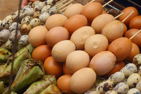 delectable: Grilled chicken eggs on the stove. Stock Photo