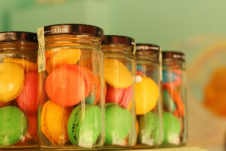 Macaron sweets in a bottle for sale