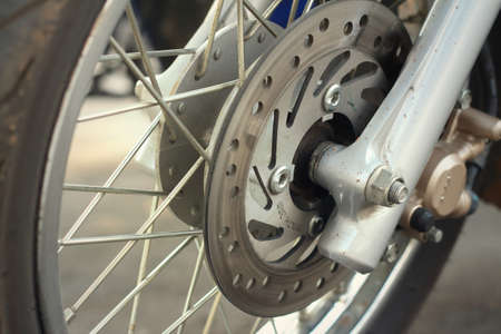 secure brake: The wheels are parked at the park.
