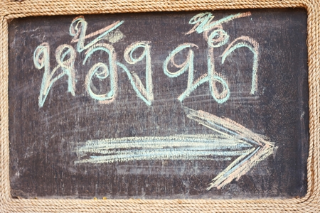 man and women wc sign: blackboard of toilet sign in Thai language Stock Photo